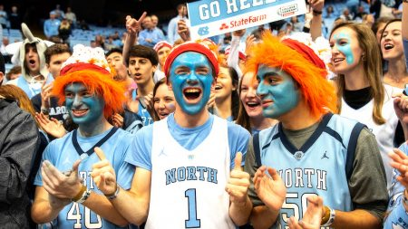 Students cheer during the UNC-Duke basketball game.