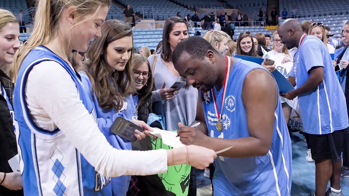 Carolina students interact with local Special Olympic athletes.