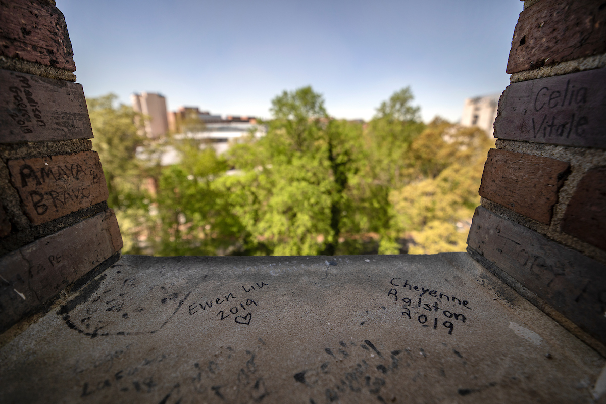 Signatures written on a window sill of the bell tower.