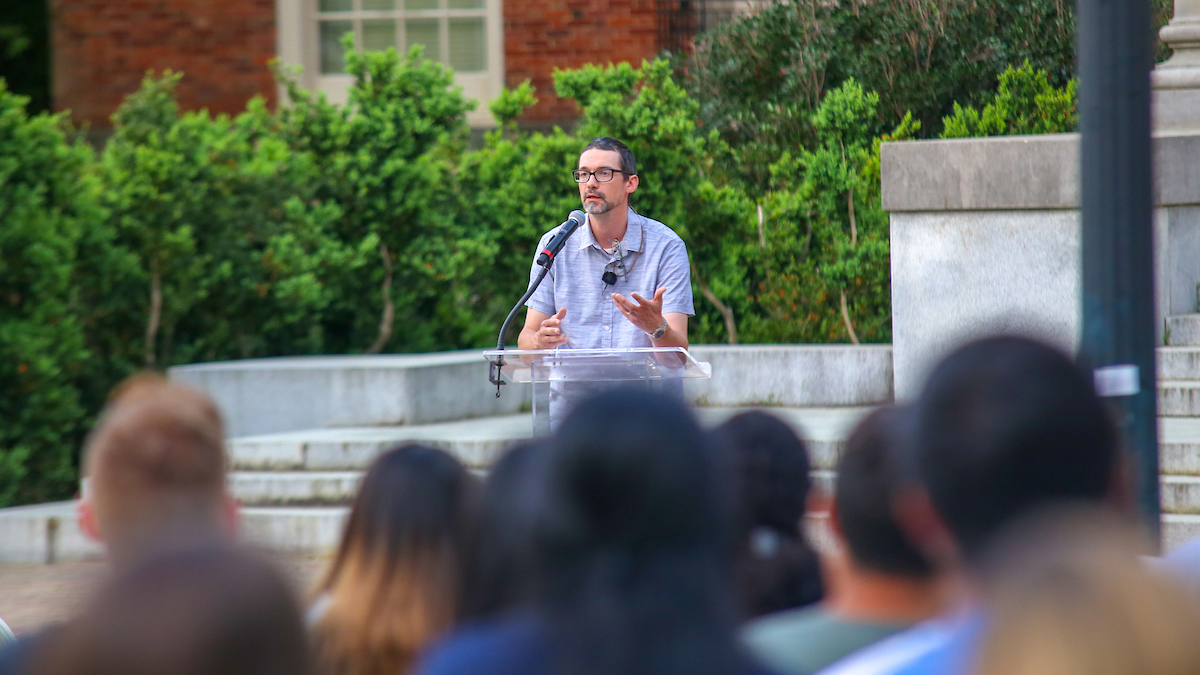Brian Hogan speaks at the Last Lecture.