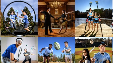 A collage of students playing sports.