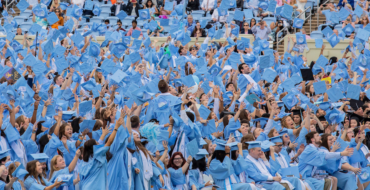 Students throw their graduation caps into the air.