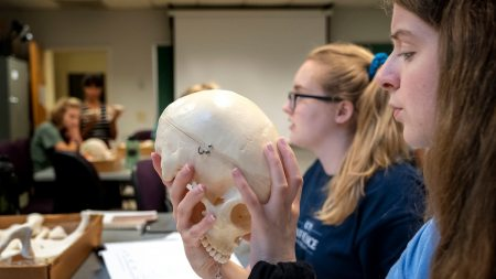 Sarah Blount examines a skull model during the Maymester course