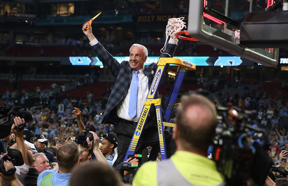 Roy Williams cut the new after the basketball tema's sixth NCAA Tournament championship.
