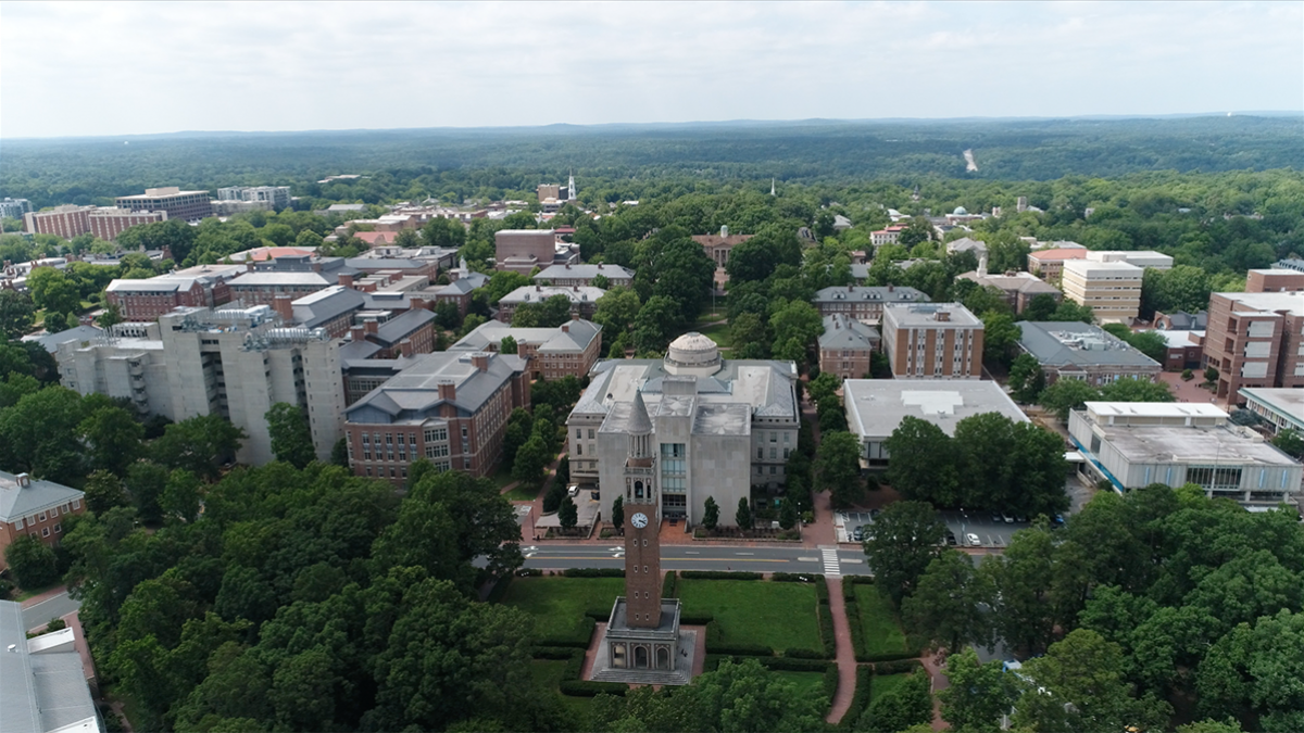 An aerial photo of UNC-Chapel Hill campus.