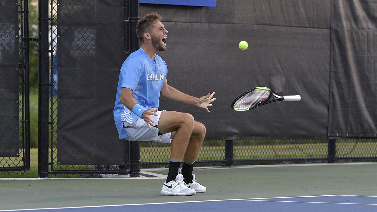 Benjamin Sigouin reacts after clinching Thursday's win over the top-seeded Buckeyes.