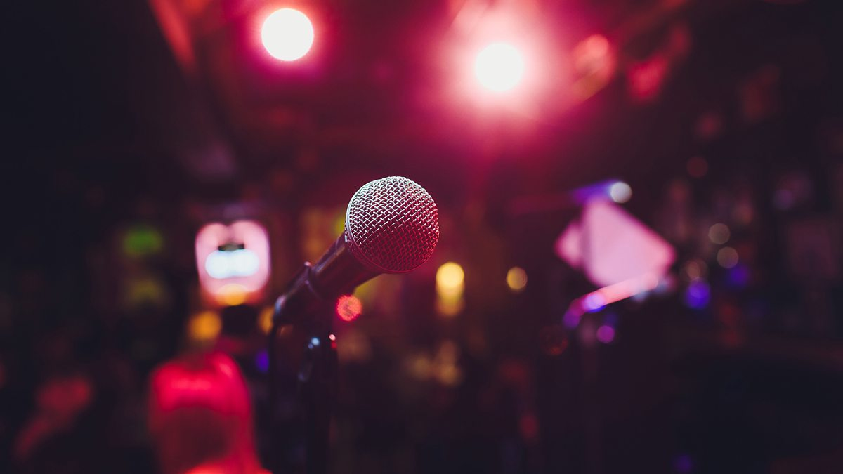 A microphone on the stage.