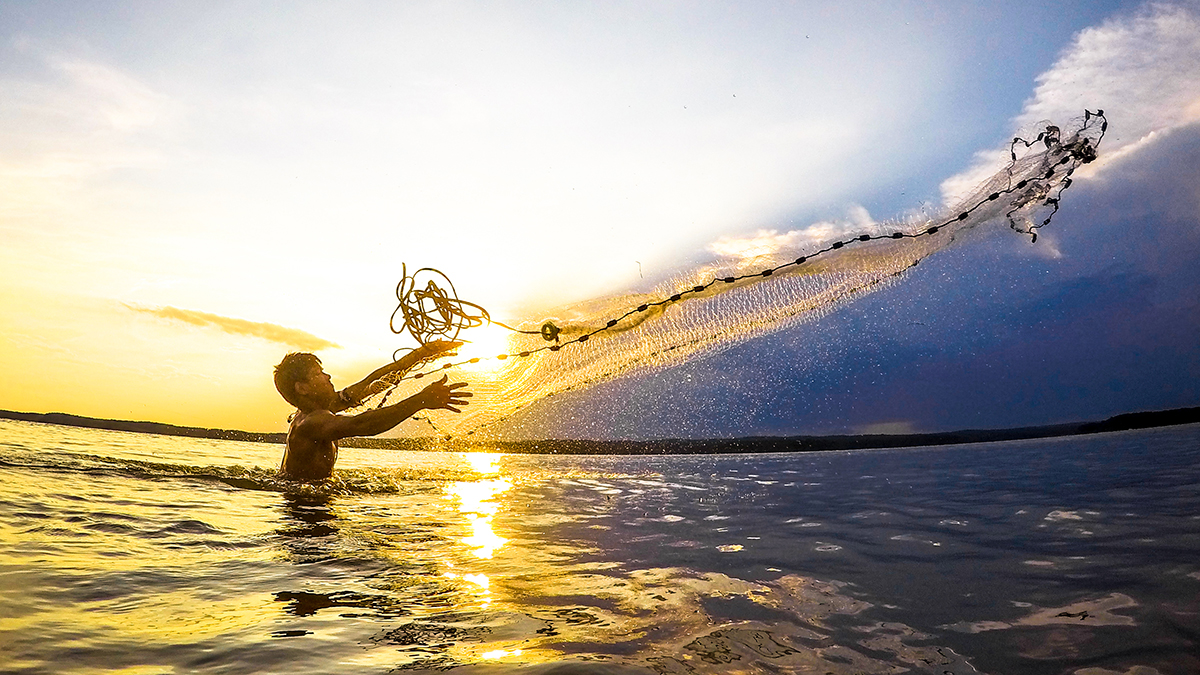 A man tosses a net out over the lake at sunset