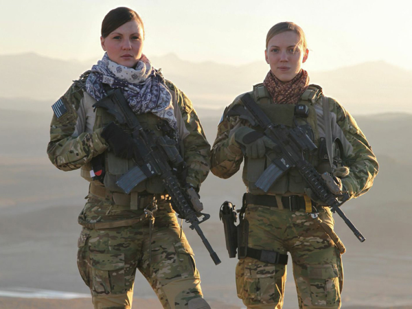 Caroline Cleveland (right) with her teammate Staff Sgt. Kat Kaelin while deployed to Afghanistan.