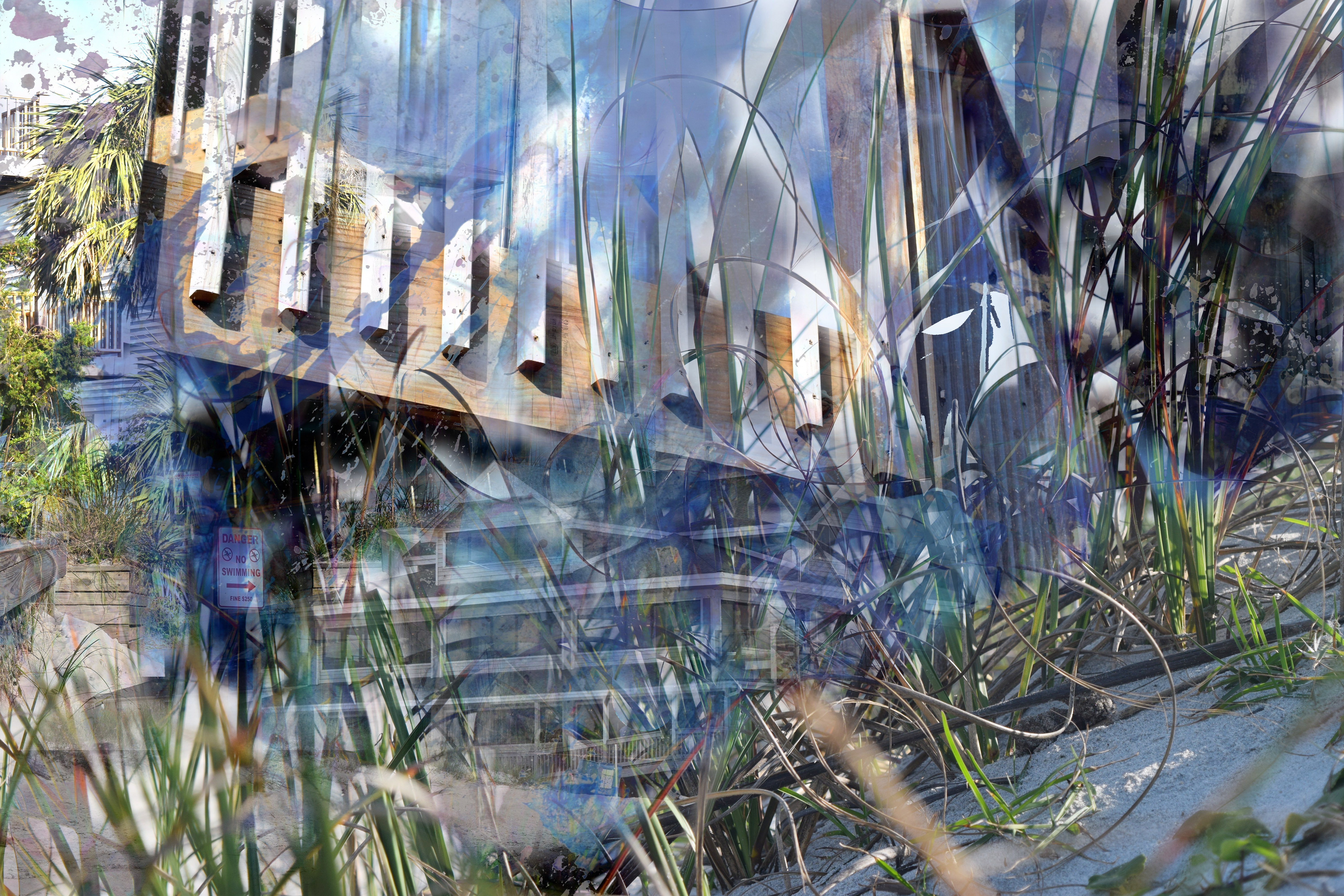 Composite image of bits of architecture and nature in blues, tans, and greens, merging into abstract and shadowy forms.