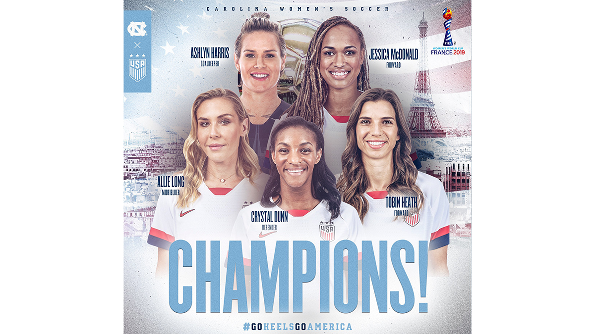 World Cup Tar Heels with photos of Ashlynn Harris, Crystal Dunns, Allie Long and Jessica McDonald and Tobin Heath.
