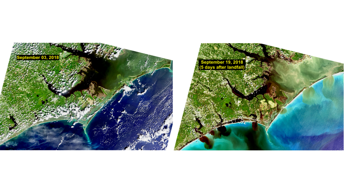 satellite images of coastal North Carolina before and after the passage of Hurricane Florence.