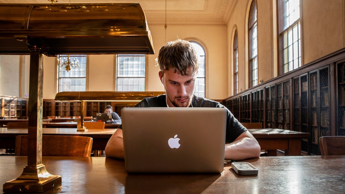 Student works on laptop in library