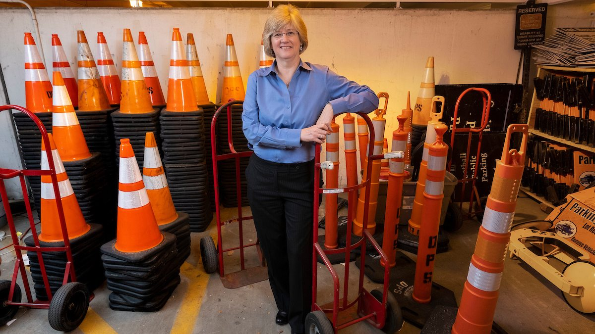Hawkins poses with storage and traffic cones