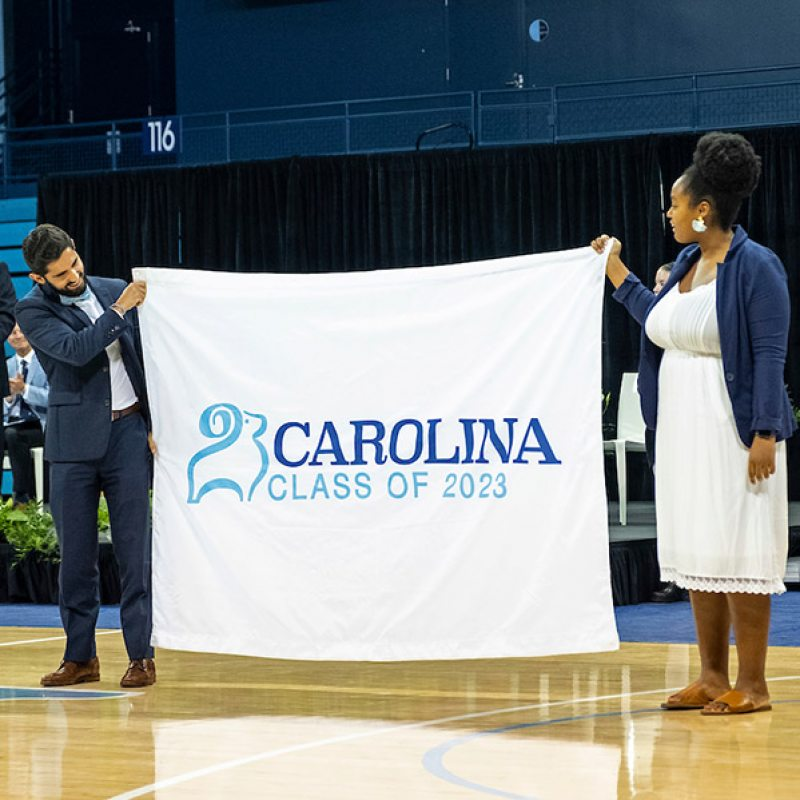 Students show the Class of 2013 banner.
