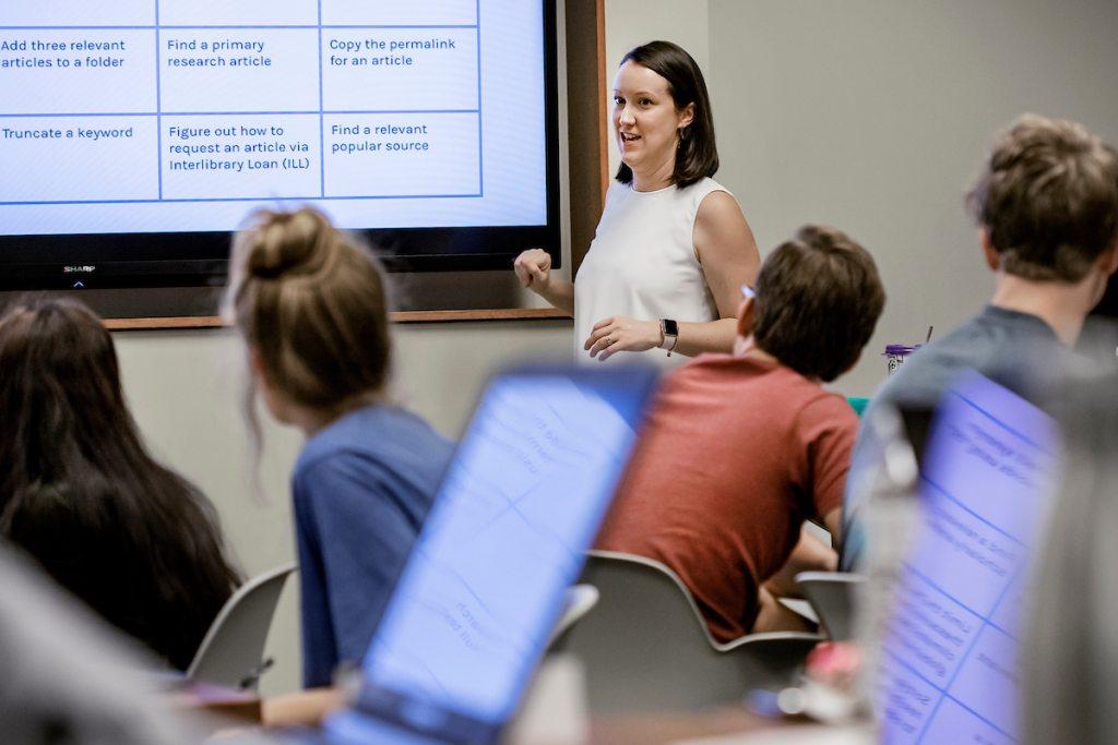 Durbin teaches a class