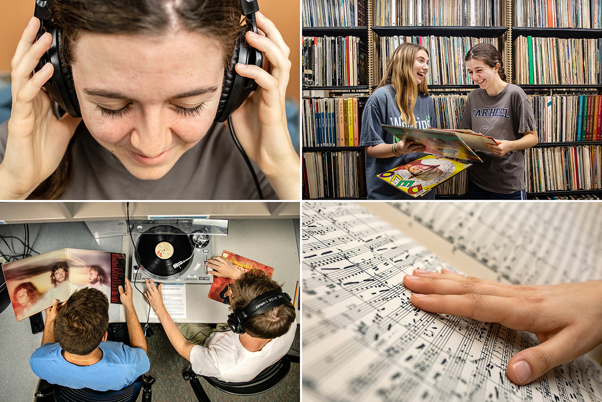 Photo collage of a student listening to headphones, students look at record covers, students listening to a record player and a hand on sheet music.