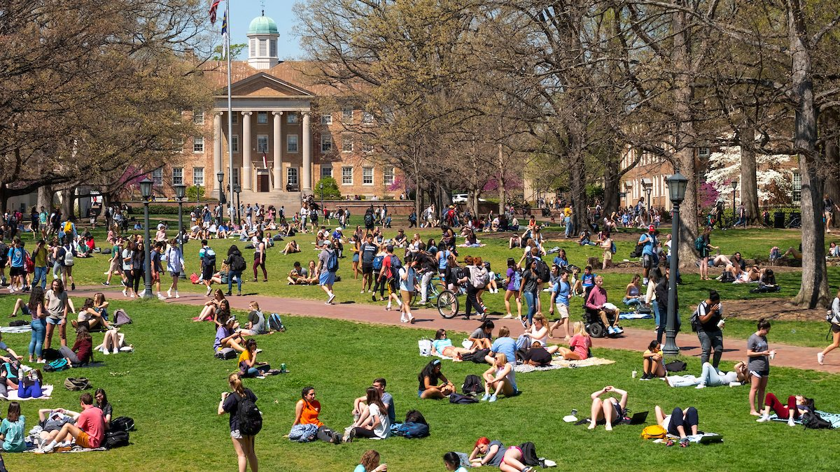 Wide shot of Polk Place with students scattered across the lawn
