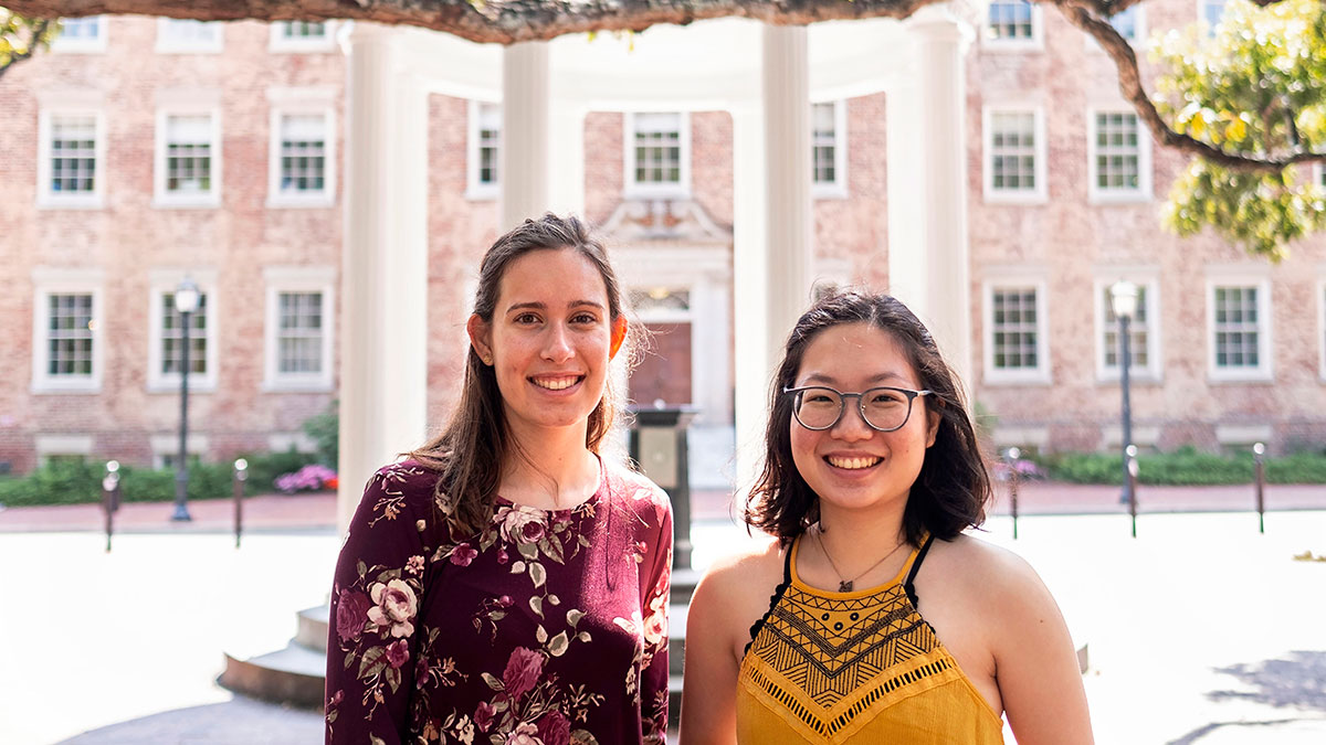 Brianne Vasarhelyi and Pinyu Chen pose in front of the Old Well.