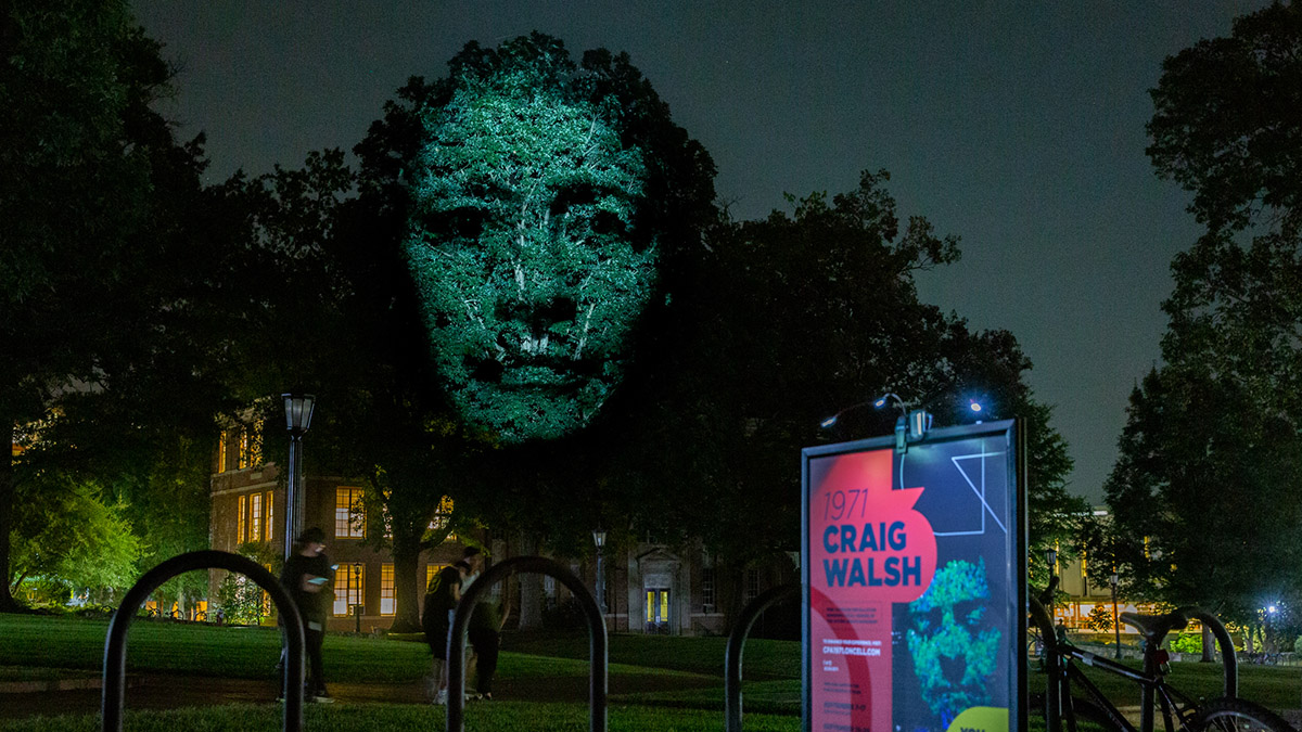 Woman's face projected onto a tree at night