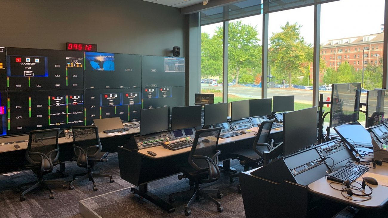 The new workspace, including rows of computers, at the new Media and Communications Center.