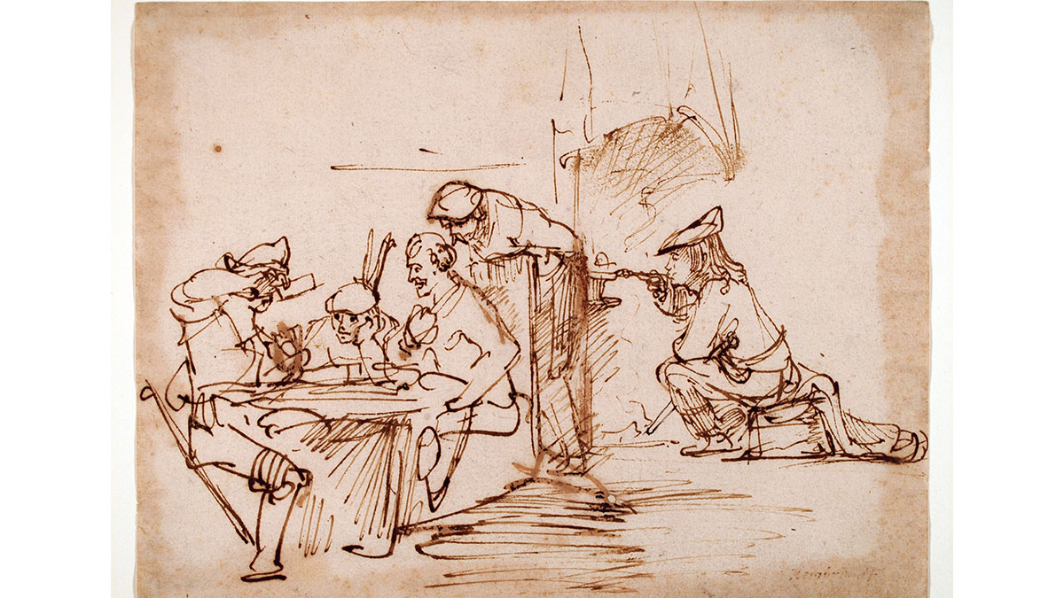 A Rembrandt drawing of people sitting at a table.