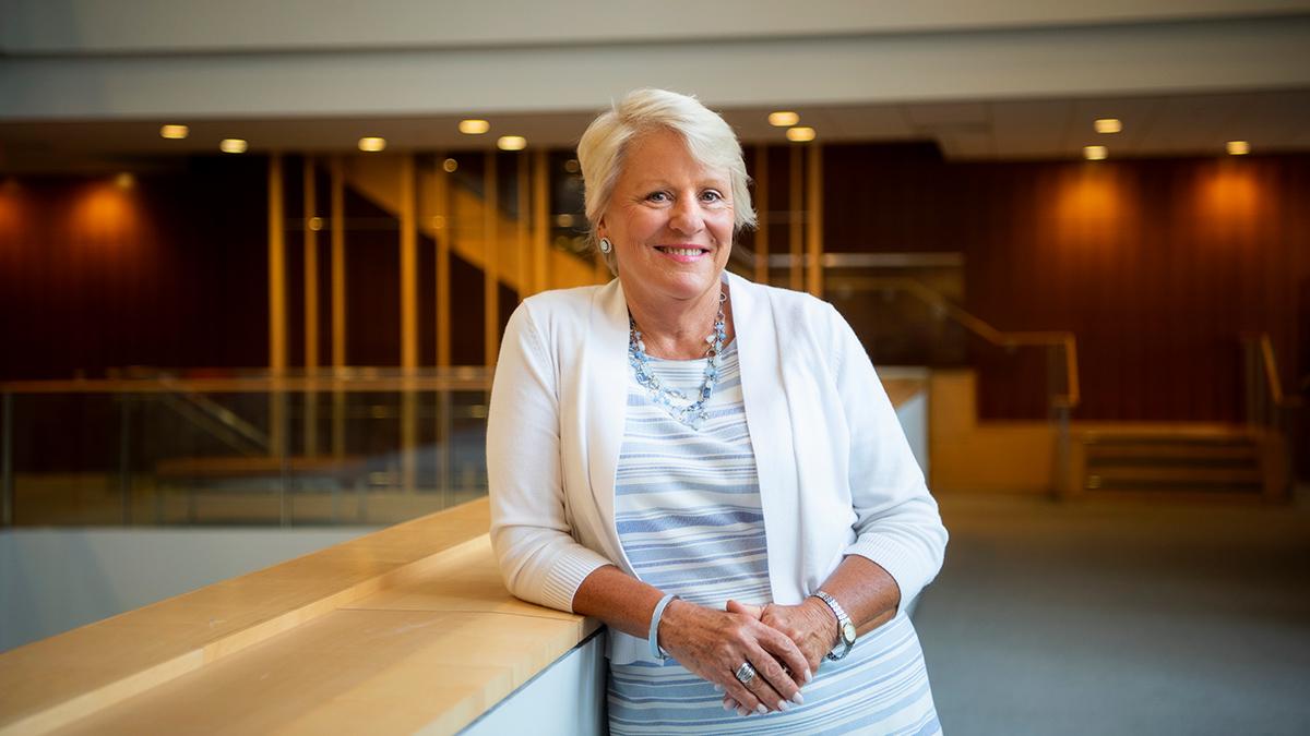 Barbara J. Stephenson stands in the FedEx Global building