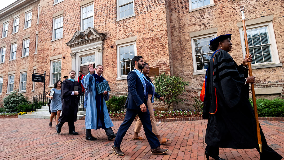 Interim Chancellor Kevin M. Guskiewicz processes into the University Day ceremony.