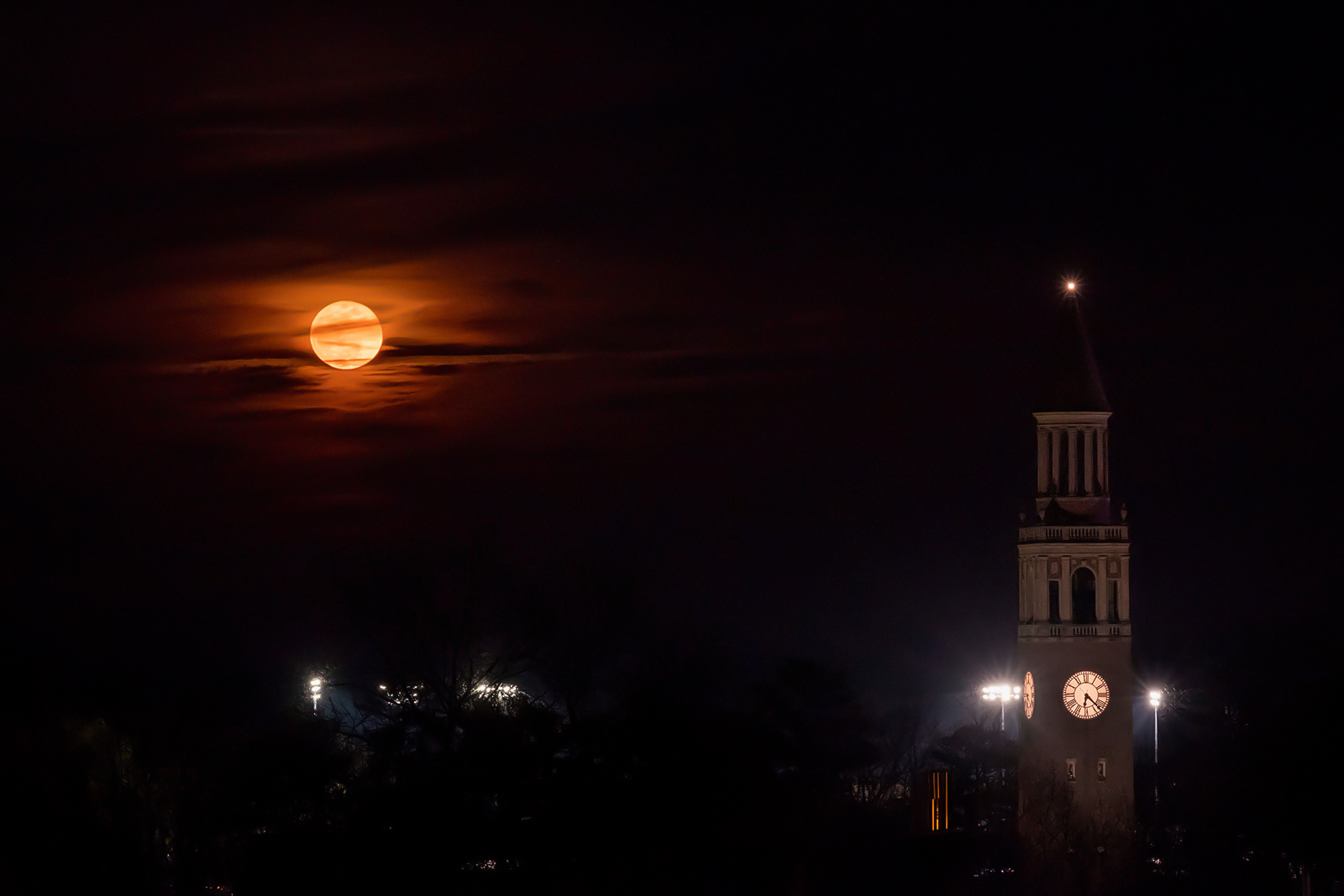 The Bell Tower with a full moon.