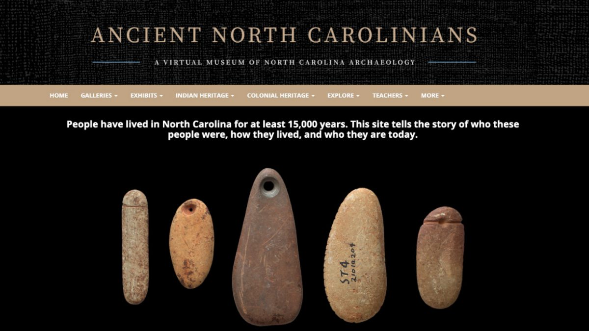 A screenshot of the AncientNC homepage with the words