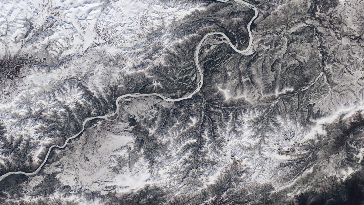 Ice cover on the Yukon River approaching its confluence with the Tanana River in Alaska