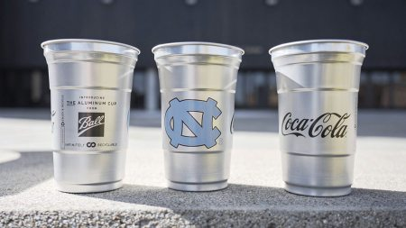 Aluminum cups with the Carolina logo on it.