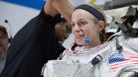 Zena Cardman in a space suit.