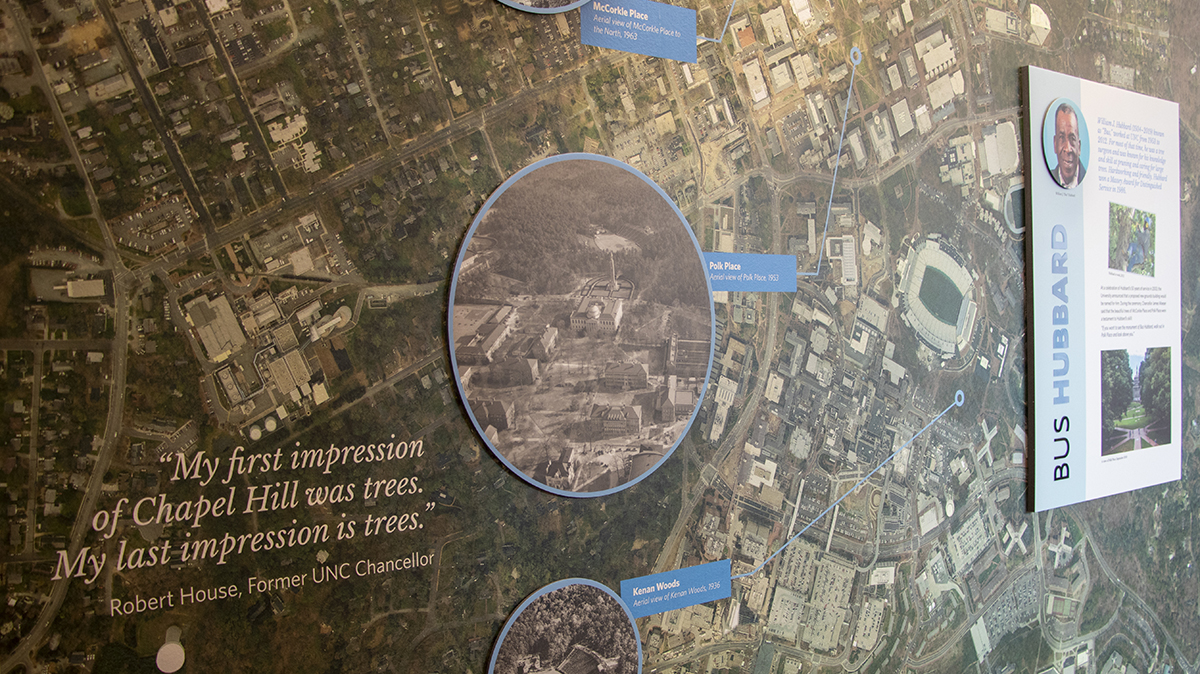 A photo of a map with photos of areas of trees magnified.