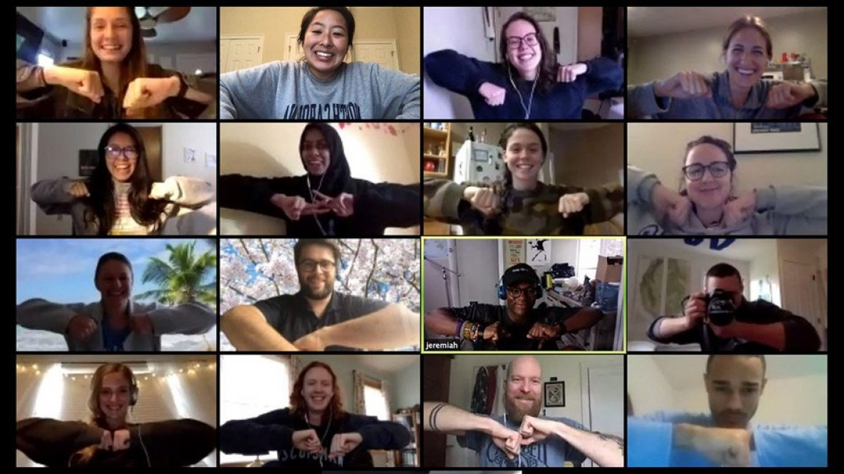 A screenshot of a video chat with 17 people.