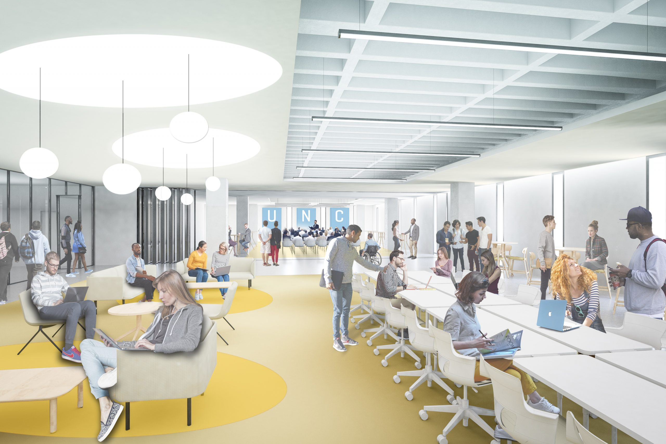 A proposed plan of the new Undergraduate Library renovtion with a long table with chairs.