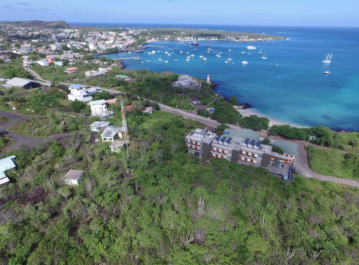 An aerial view of the Galapagos Science Center.