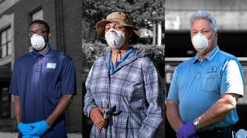 People wearing medical masks while working.