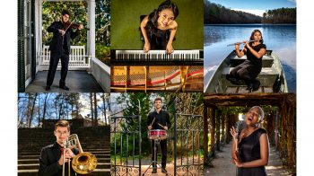 A collage of people playing instruments.