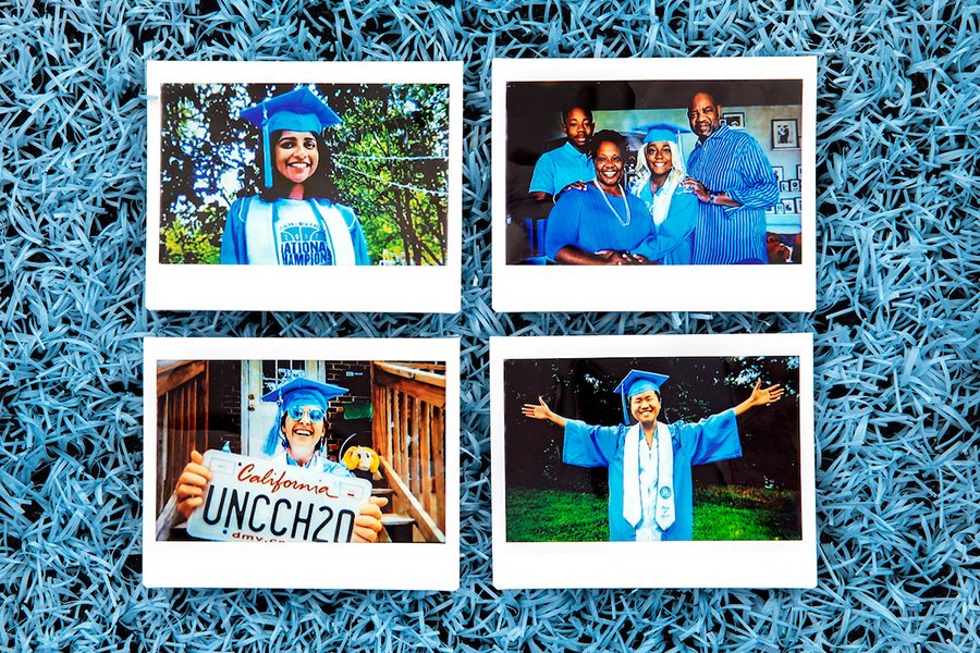 A collage of polariods of four students in caps and gowns.
