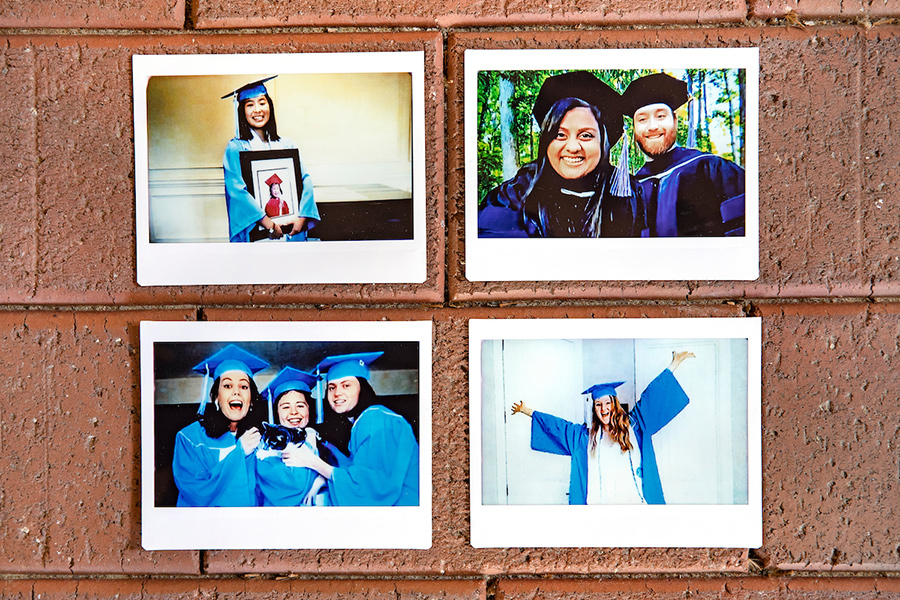 A collage of polariods of students in caps and gowns.