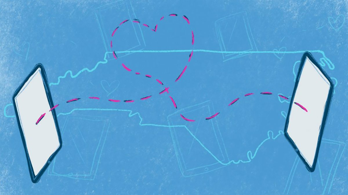 A drawing of two electronic tablets connected by a heart across the state of North Carolina.