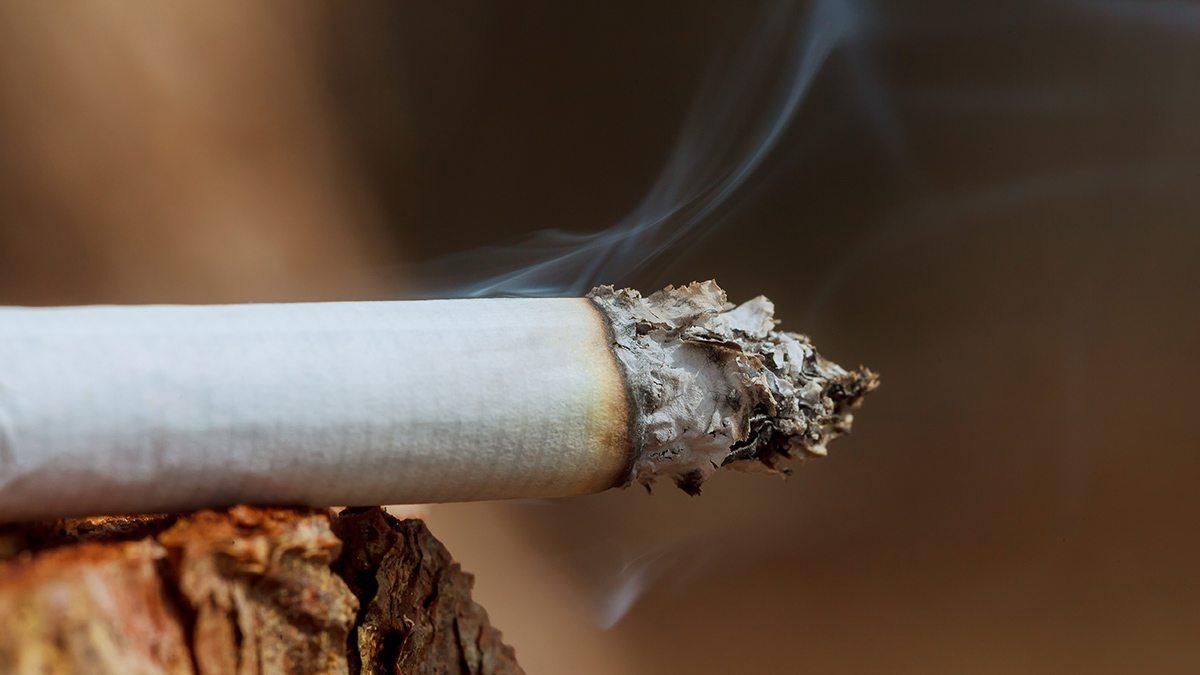 A lit cigarette.
