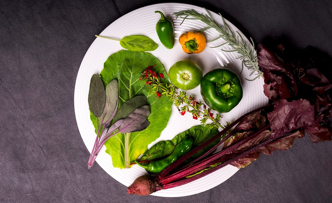 Raw vegetables on a plate.