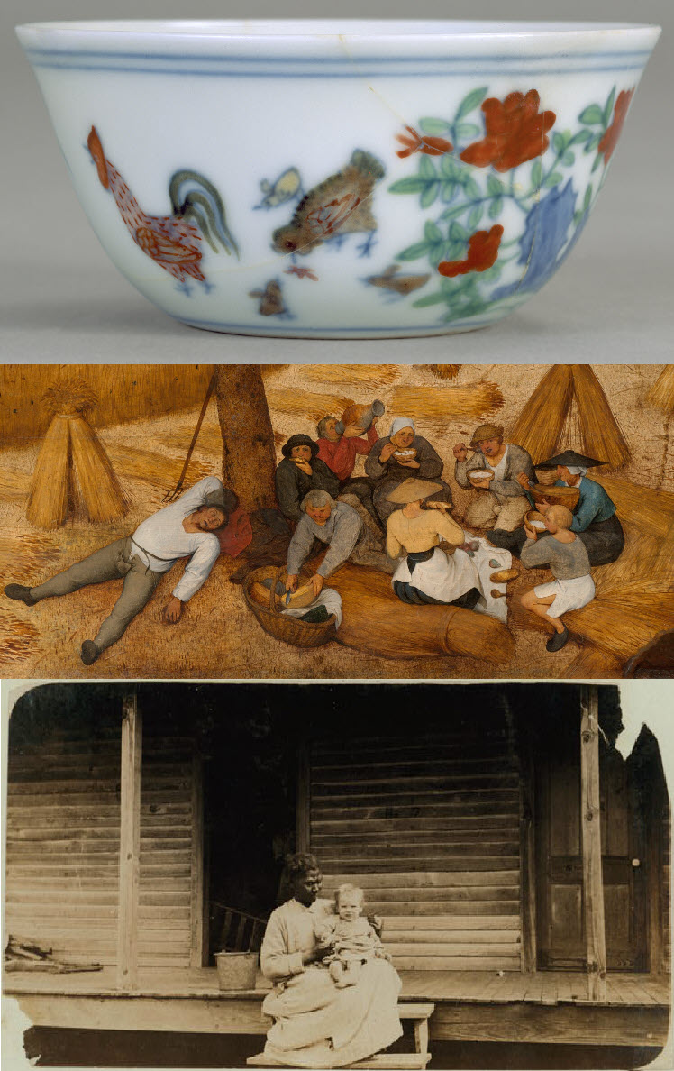 From top to bottom: a Chinese cup with chickens and flowers, a detail of Breugel's Harvesters, a Lewis Hine photograph of an African-American nanny with a white child on her lap