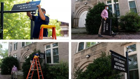 The removal of the Carr Building sign from Campus, and replacing it with the Office of Student affairs sign.