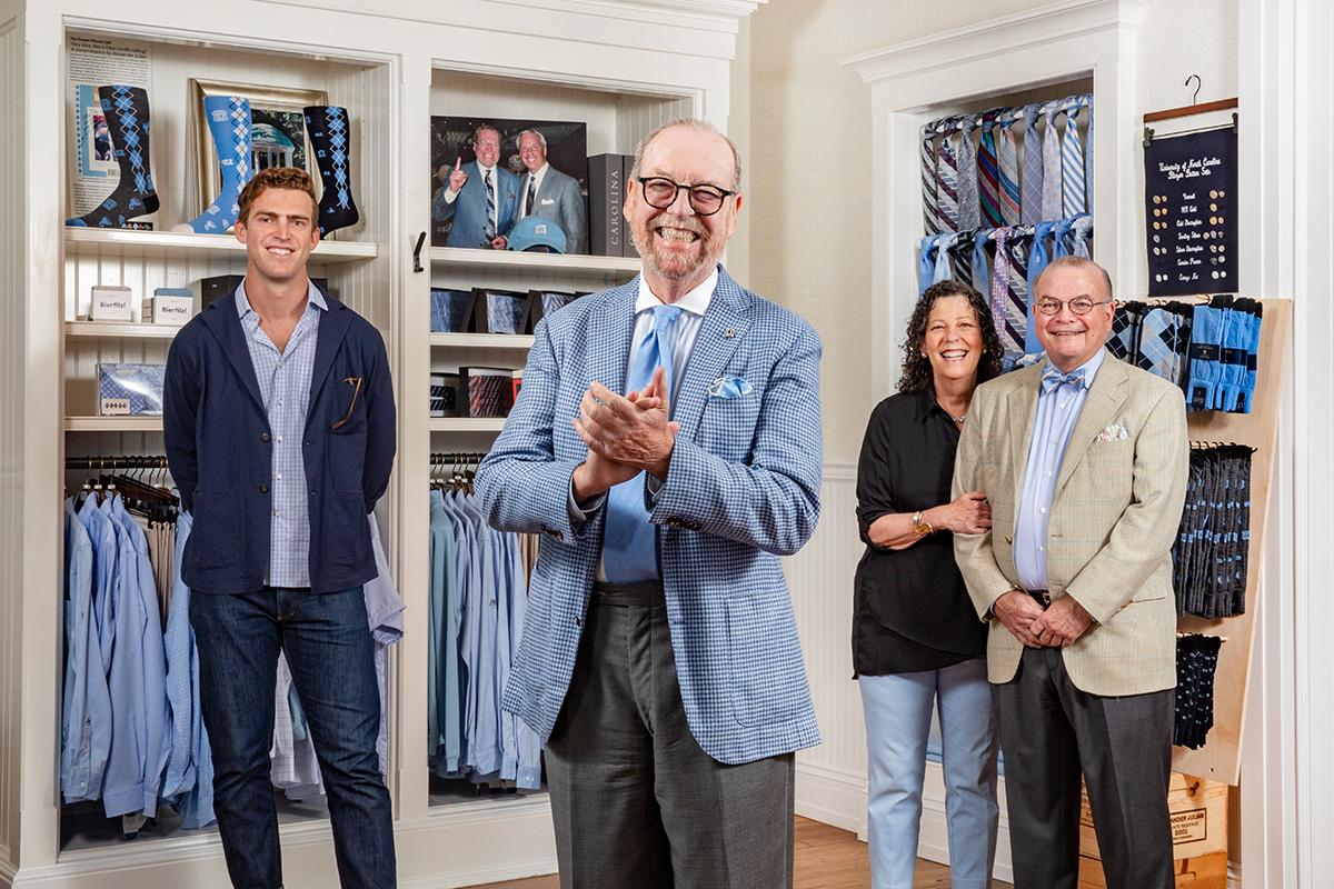 Alexander Julian poses for a portrait alongside Huston Julian, Missy Julian-Fox and Michael Fox.