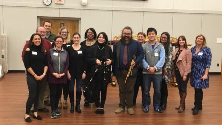 A group of UNC World View Global Music Fellows pose for a photo.
