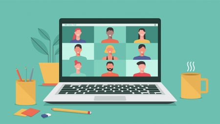A graphic of people on a video call on a laptop.