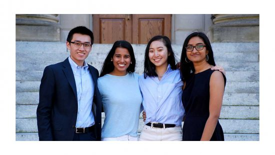 Sean Nguyen, Aditi Adhikari, Selina Shi and Preeyanka Rao in front of Wilson Library.